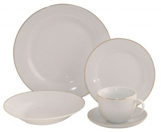 20 Piece Fine Porcelain Plain White with Real Gold Edge Classic Dinner