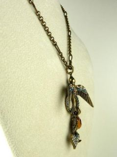 Mariana Bird Pendant Necklace Citrine Blue Rainbow