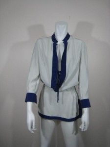 Kimberly Taylor Gorgeous Silk Tunic with Contrast Trim and Ruched