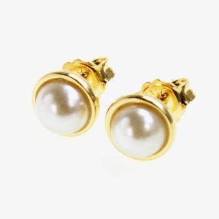 GF Bezel White Pearl Earrings Girl Baby Kids Push Back Stud 6mm