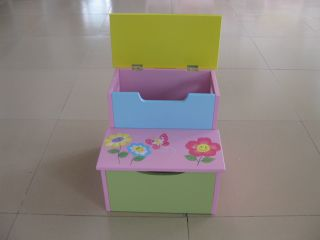 painted Bright Color Toddler Step Stool Storage Box Kids Furniture