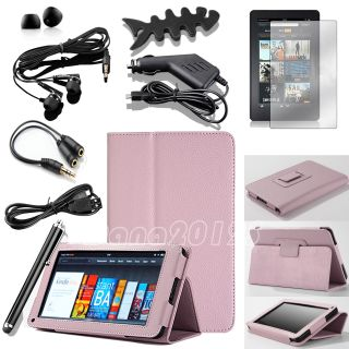 For  Kindle Fire Pink PU Leather Stand Case Cover Charger
