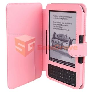 Pink Leather Case Cover LED Light for Kindle 3 3G WiFi