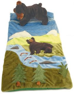 Plush Kids Toddler Black Bear Sleeping Bag Slumber Outdoors Animal
