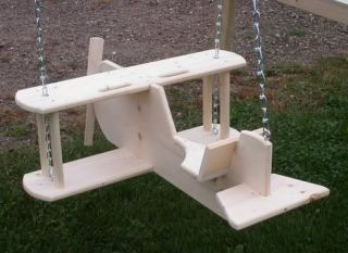Unique Kids Toy Airplane Swing Wooden Solid Pine Wood Amish Toddler