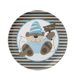 Holiday Cookie Sleepy Bear Christmas Plate