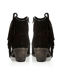 Bertie Plata Fringe Ankle Boots Black