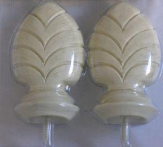 Kirsch Carved Arrow Curtain Rod Finials Set of 2 Creme Gold