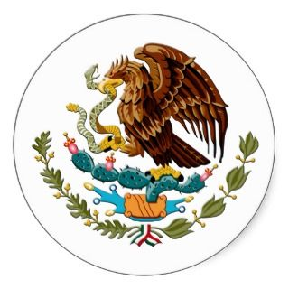 Eagle and snake Mexico Emblem for Mexicans Round Sticker