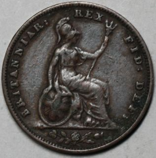 1831 First Year Issue Farthing King William IV Old US Money 1 4 Penny