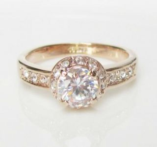 Rose Gold GP Swarovski Crystal Engagement Promise Ring