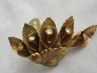 RETRO GOLD PLATED FLOWER & RHINESTONE DRESS CLIP  KINGSBURG WEBER NY