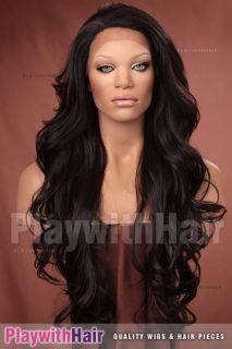 Tousled Wig LACE FRONT Black Auburn Streaks Kim Kardashian Style