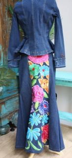 Wholesale WOW Vintage Collection Floral Denim Skirt XS