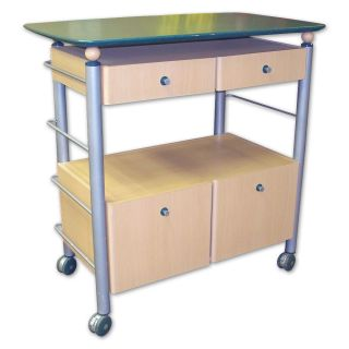 Metal Framed Kitchen Island Green Countertop on Wheels