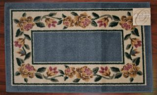 2x3 Kitchen Rug Mat Blue Washable Mats Rugs Flower Flowers Floral Pink