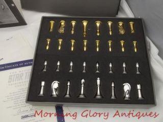 Star Trek Tri Dimensional Chess Set Franklin Mint ORG Box