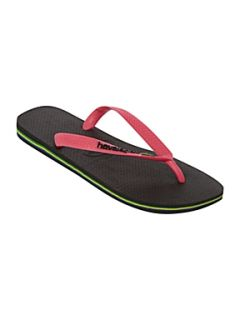 Havaianas White logo flag flip flops Black   House of Fraser