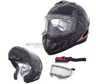 Snowmobile Helmet Lens Electric Shield Flip Up Modular Small Pink CKX