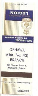 Royal Canadian Legion Matchbook Cover Oshawa Ontario Branch 43
