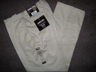 New Kirkland Mens Premium Dress Pants No Iron Tan 36x30