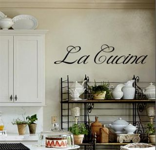 La Cucina Italian Kitchen Vinyl Wall Decal Words Quote Lettering