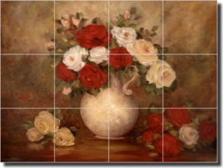 Cook Floral Roses Ceramic Tile Mural Kitchen Backsplash