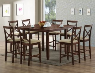 Brown Wood Modern Counter Stool Kitchen Furniture Set of 2 PCH6855 S3