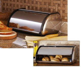 Stainless Steel Bread Box Cover Organizer Kitchen Counter Decor