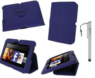 Slim Vegan Leather Folio Case Cover for  Kindle Fire HD 7 Inch