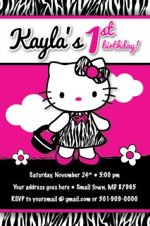 Hello Kitty Zebra Print Dress Invitation 1st Birthday Party Baby