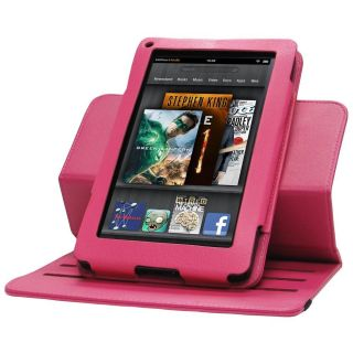 Rotating Leather Case Cover for  Kindle Fire 7 tablet HOT PINK