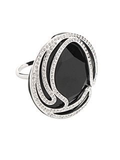 Swarovski May black jet crystal ring Blue