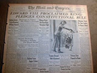 newspaper EDWARD VIII is KING of GREAT BRITAIN aftr GEORGE V death