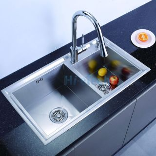 Stainless Steel Zero Radius Double Bowl Top Mount Kitchen Sink