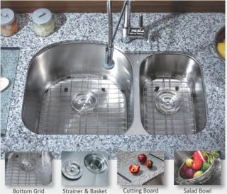 Stainless Steel Undermount Kitchen Sink (70/30) D Shape Double Bowl