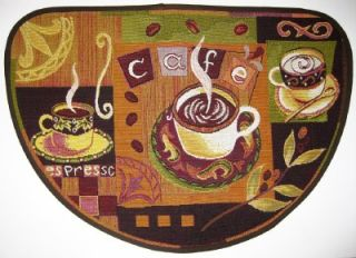 NEW! CAFE ESPRESSO TAPESTRY SLICE RUG Carpet Cup Mug Coffee Beans