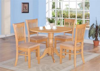 3PC ROUND DINETTE KITCHEN DINING SET TABLE w/ 2 MICROFIBER UPHOLSTERED