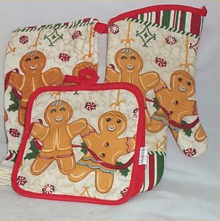 Gingerbread Kitchen Towels Oven Mit Hot Pads Christmas Decor Holiday