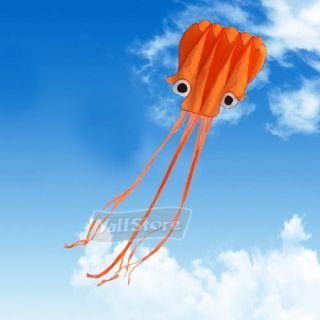 4M Orange Octopus Soft Kite Free Kite Reel Winder Fly Line Easy to Fly
