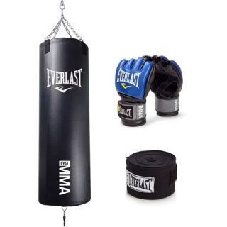 Everlast MMA 70 lb Heavy Bag Pro Style Kit w MMA Grappling Gloves
