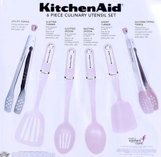 New KitchenAid 6 Piece Cancer Awareness Pink Culinary Utensil Set