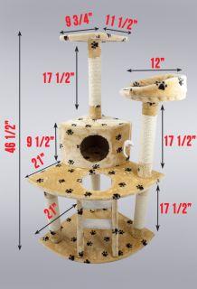 Cat Tree 47 Kitten Condo Furniture Scratching Post Pet House Beige