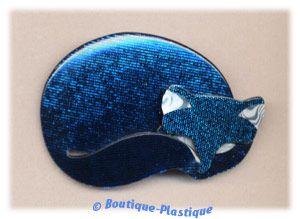 Lea Stein Blue Mosaic Red Eared Gomina The Sleeping Kitty Cat