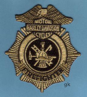 Harley Davidson Fire Firefighter Patch Gold Black