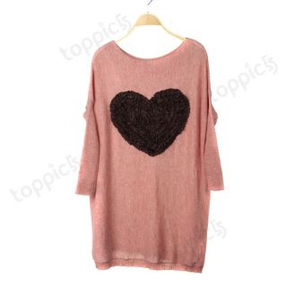 Heart Long Loose Pullover Knitted Knit Sweater Jumper Top Dress