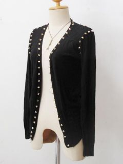 Grunge Knitwear Cardigan Punk Rock Sweater Spike Studs Cape Draped