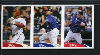 2012 Topps Stickers 3 Card Strip Justin Upton Diamondbacks