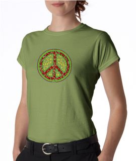 Peace Symbol Vines Floral Ladies Tee Shirt