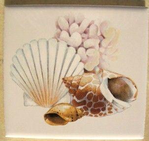 Seashell Ceramic Tile w Sea Shell 2 Seashells Pretty